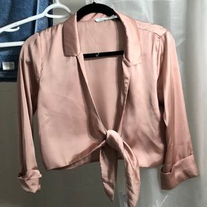 Rose gold Satin Tie blouse